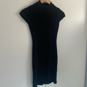 Like New Black high neck body con ribbed dress